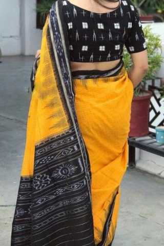 Yellow N Black Colored Traditional Silk Saree With Blouse For Women - CD545
