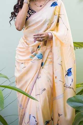 Cream Colored Traditional Silk Saree With Blouse For Women - CD549