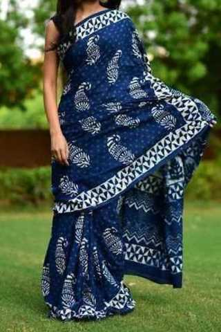 Blue Colored Traditional Silk Saree With Blouse For Women - CD550