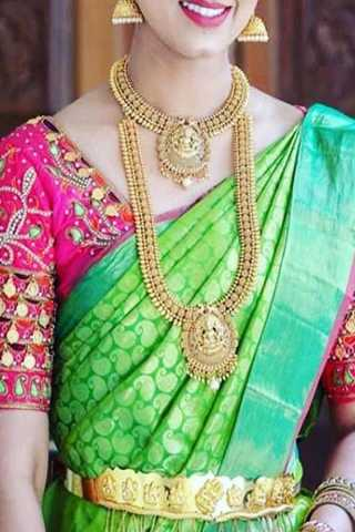 Green Colored Traditional Silk Saree With Blouse For Women - CD551