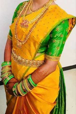 Yellow Colored Traditional Silk Saree With Blouse For Women - CD552