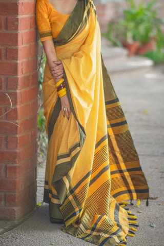 Yellow Colored Traditional Silk Saree With Blouse For Women - CD558