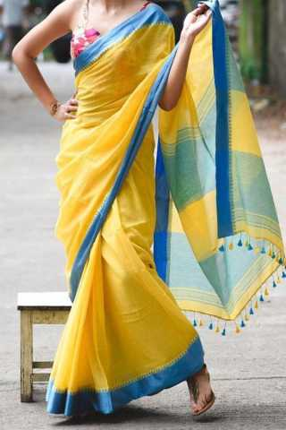 Yellow Colored Traditional Silk Saree With Blouse For Women - CD559