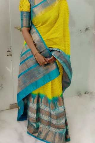 Yellow N Green Colored Traditional Silk Saree With Blouse For Women - CD560