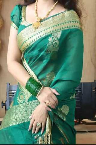 Rama Green Colored Traditional Silk Saree With Blouse For Women - CD565