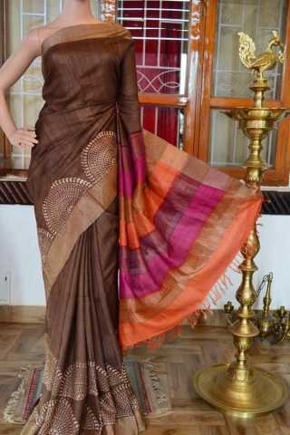 Brown Colored Traditional Silk Saree With Blouse For Women - CD584