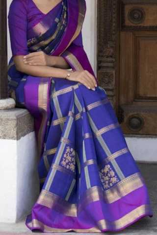 Blue n Purple Colored Traditional Silk Saree With Blouse For Women - CD585