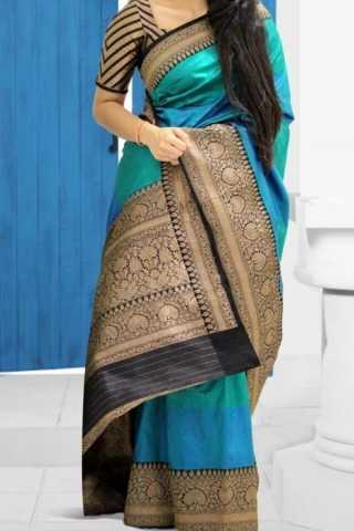 Multi Colored Traditional Silk Saree With Blouse For Women - CD586