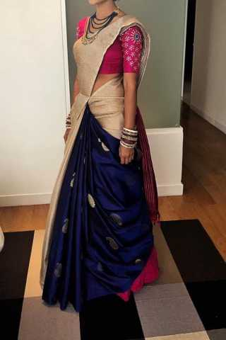 White N Blue Colored Traditional Silk Saree With Blouse For Women - CD587