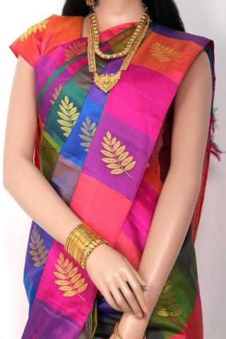 Multi Colored Traditional Silk Saree With Blouse For Women - CD596