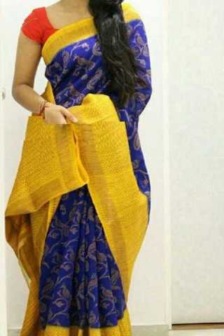 Blue N Yellow Colored Traditional Silk Saree With Blouse For Women - CD598