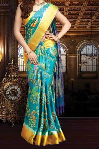 Turqouise Colored Traditional Silk Saree With Blouse For Women - CD600