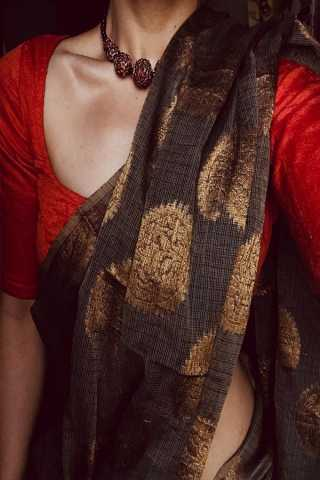 Coffee Colored Traditional Silk Saree With Blouse For Women - CD606