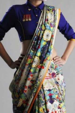Multi Colored Traditional Silk Saree With Blouse For Women - CD607