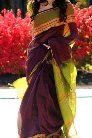 Magenta Colored Traditional Silk Saree With Blouse For Women - CD608