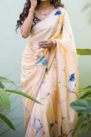 Cream Colored Traditional Silk Saree With Blouse For Women - CD611