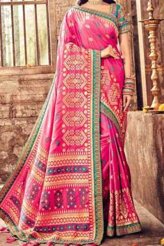 Pink Colored Traditional Silk Saree With Blouse For Women - CD618