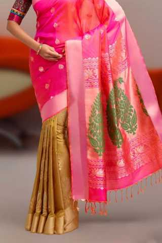 Beige - Pink Colored Traditional Silk Saree With Blouse For Women - CD632