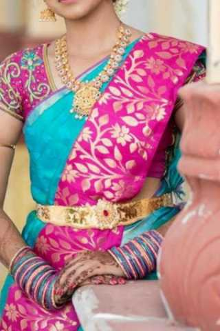 Cyan - Pink Colored Traditional Silk Saree With Blouse For Women - CD637
