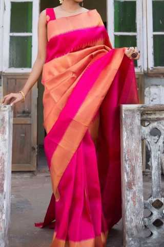 Pink Colored Traditional Silk Saree With Blouse For Women - CD640