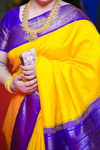 Yellow N Purple Colored Traditional Silk Saree With Blouse For Women - CD645