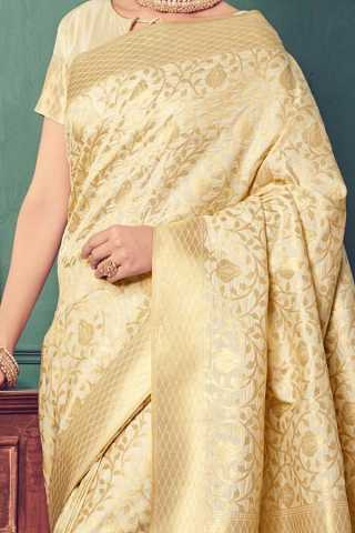 Cream Colored Traditional Silk Saree With Blouse For Women - CD646