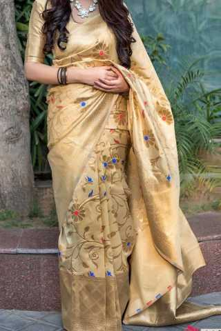 Beige Colored Traditional Silk Saree With Blouse For Women - CD663
