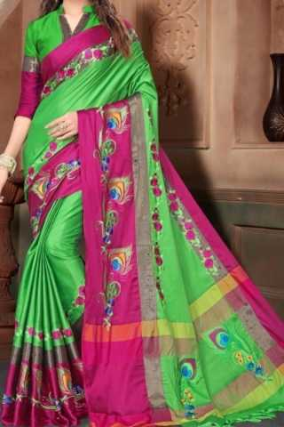 Green N Pink Colored Traditional Silk Saree With Blouse For Women - CD665