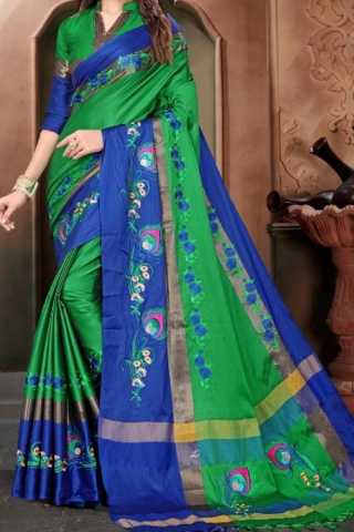 Green N Blue Colored Traditional Silk Saree With Blouse For Women - CD666