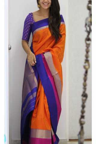 Enriching Orange Color Soft Silk Designer Sarees - CND1198
