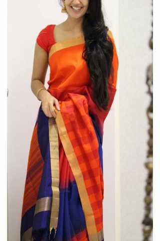 Stylish Orange Color Soft Silk Designer Sarees - CND1202