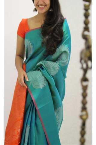 Pleasurable Turquoise Color Soft Silk Designer Sarees - CND1214