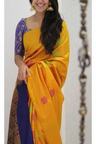 Ultimate Yellow Color Soft Silk Designer Sarees - CND1215