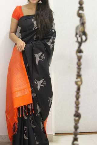 Sizzling Black Color Soft Silk Designer Sarees - CND1298