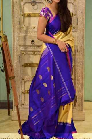 Ethnic Yellow N Violet Color Soft Silk Designer Sarees - CND1306