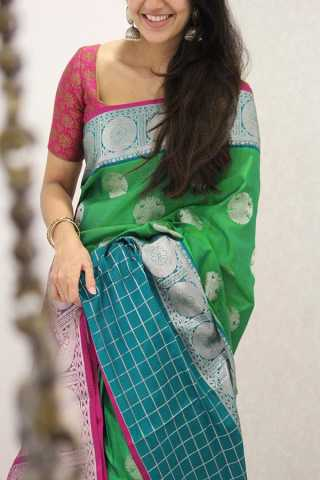 Stunning Dark Green and Pink Silk Saree