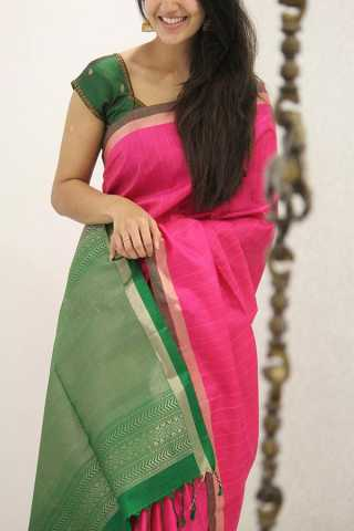 Charming Pink and Green Soft Silk Party Wear Saree