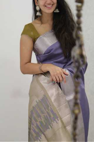 Preferable Violet colored Soft Silk Party Wear Saree