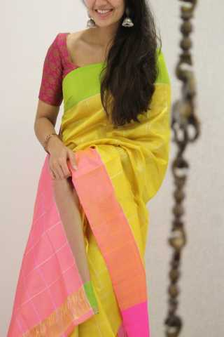 Blissful Yellow Colored Soft Silk Party Wear Saree