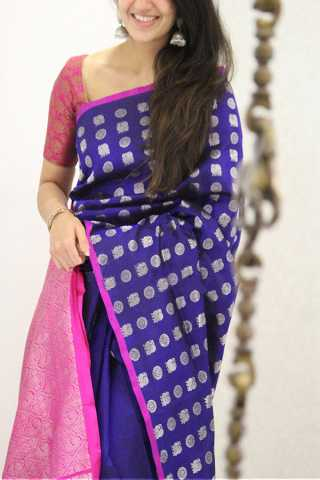 Flamboyant Blue Colored Soft Silk Party Wear Saree