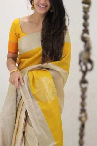 Imposing Yellow Colored Soft Silk Party Wear Saree