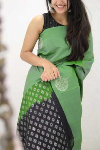 Alluring Green Colored Soft Silk Party Wear Saree