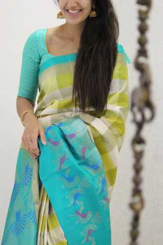 Lovely Multi Colored Soft Silk Party Wear Saree