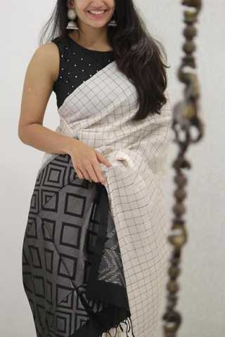 Innovative White and Black Colored Soft Silk Party Wear Saree