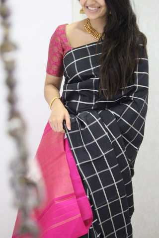 Alluring Black Colored Checks Pattern Soft Silk Party Wear Saree