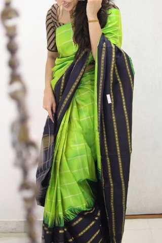 Dazzling Green-Black Colored Soft Silk Party Wear Saree