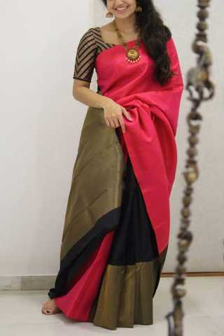 Glorious Pink-Black Colored Soft Silk Party Wear Saree