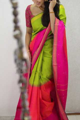 Eye-Catching Green Colored Pink Border Soft Silk Party Wear Saree