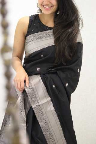Ideal Black Colored Soft Silk Party Wear Saree