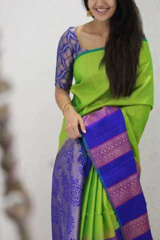 Wishful Green Colored Soft Silk Party Wear Saree